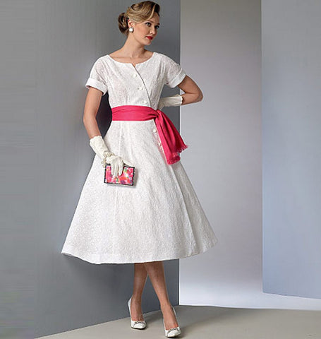 Vogue - V9105 Misses Vintage Dress & Sash - WeaverDee.com Sewing & Crafts - 1