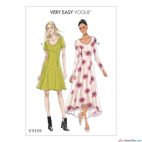 Vogue - V9199 Misses' Knit Fit & Flare Dresses - WeaverDee.com Sewing & Crafts - 1