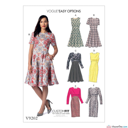Vogue - V9202 Misses' Dresses with Flared or Straight Skirt Options - WeaverDee.com Sewing & Crafts - 1