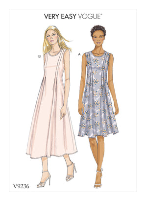Vogue Pattern V9236 Misses' Released-Pleat Fit-&-Flare Dresses