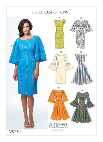 Vogue Pattern V9239 Misses' Princess Seam Dresses With Sleeve & Skirt Variations
