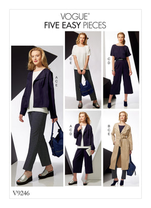 Vogue Pattern V9246 Misses' Drop-Shoulder Jackets, Belt, Top With Yokes & Pull-On Pants