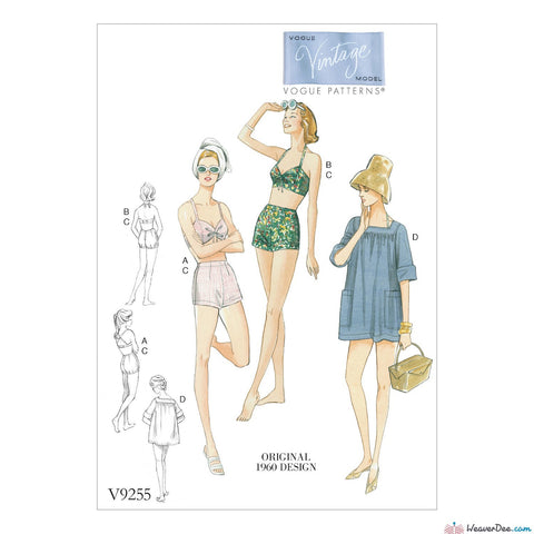 Vogue Pattern V9255 Misses' Lined Halter Bra & Shorts, & Square-Neck Coverup With Pockets