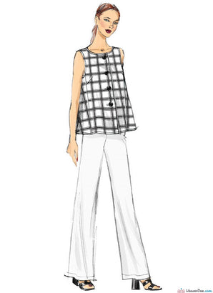 Vogue Pattern V9258 Misses' Sleeveless Tops With Pull-On Pants