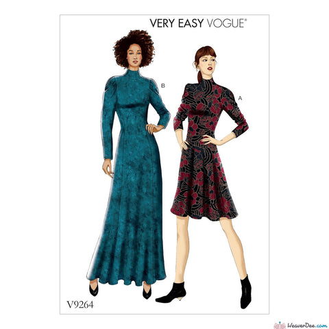 Vogue Pattern V9264 Misses'/ Misses' Petite Knit, Fit-&-Flare Dresses