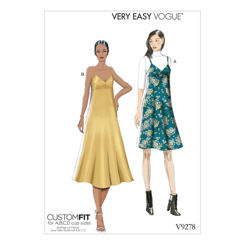 Vogue Pattern V9278 Misses' Slip-Style Dress With Back Zipper