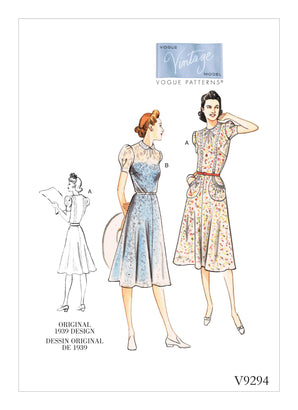 Vogue Pattern V9294 Misses' Vintage 1930s Dress