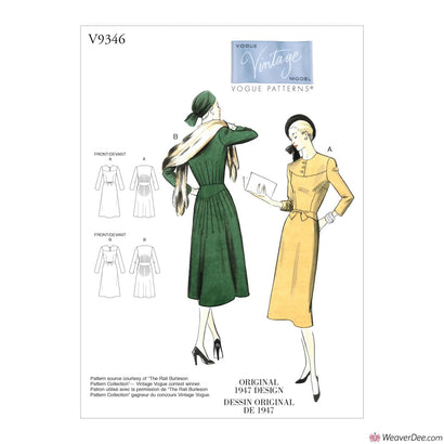 Vogue Pattern V9346 Misses' Vintage 1940s Dress