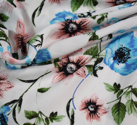 Spring Delight Ivory Viscose Lawn Fabric