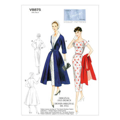 Vogue - V8875 Vintage 1950s Misses' Dress, Belt, Coat & Detachable Collar - WeaverDee.com Sewing & Crafts - 1