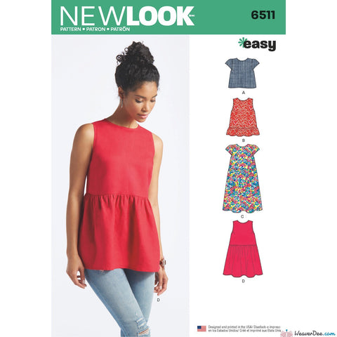 New Look Pattern NL6511 Misses' Tops With Length & Sleeve Variations