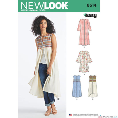 New Look Pattern N6514 Misses' Coat or Vest with Sleeve & Length Variations