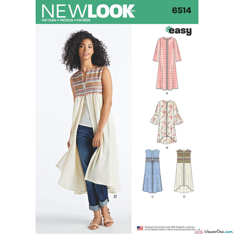 New Look Pattern NL6514 Misses' Coat or Vest with Sleeve & Length Variations