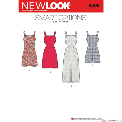 New Look Pattern N6509 Misses' Dungarees / Dress with Bodice Variations
