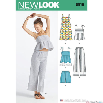 New Look Pattern N6518 Misses' Dress, Tops in 2 Lengths, Pants & Shorts