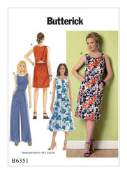Butterick - B6351 Misses' Tulip-Shaped, Open-Back Dresses & Jumpsuit - WeaverDee.com Sewing & Crafts - 1