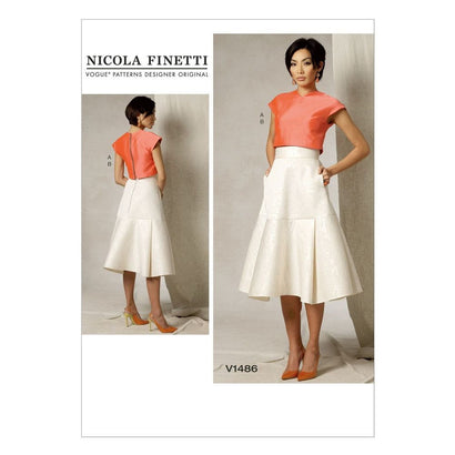 Vogue - V1486 Misses' Crop Top & Flared Yoke Skirt - WeaverDee.com Sewing & Crafts - 1