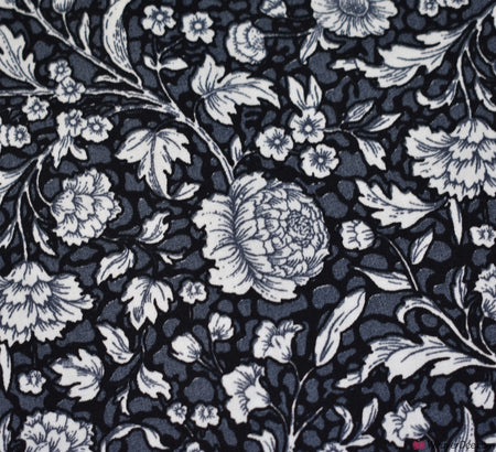 Rose & Hubble Cotton Poplin Fabric - Whirlow Black Floral