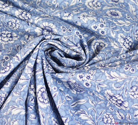 Rose & Hubble Cotton Poplin Fabric - Whirlow Delph Blue Floral