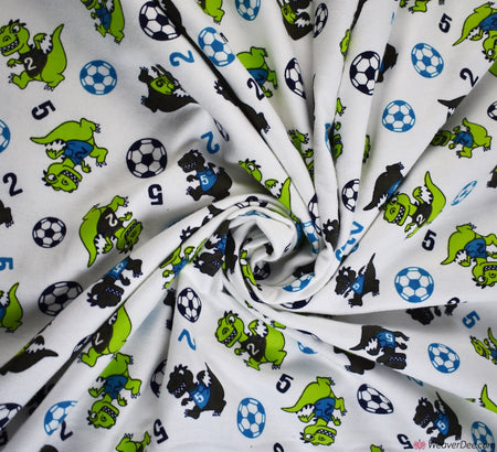 Cotton Winceyette Fabric (Flannelette) - Dino Football