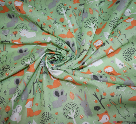 Premier Print Poly Cotton Fabric - Woodland Cuties Green