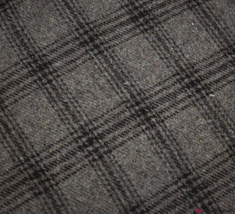 Check Wool Blend Fabric - Warm Stone