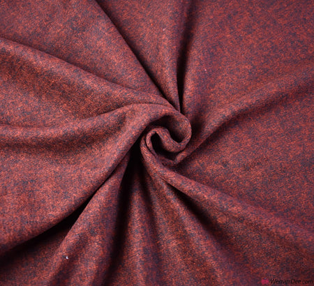 Coating Fabric - Wool Mix Melton / Red Black Marl