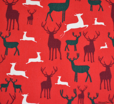 Poly Cotton Fabric - Christmas Reindeers Red