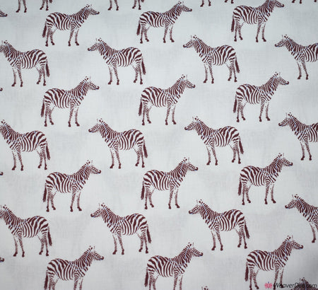 Little Johnny Digital Print Cotton Fabric - Zebras