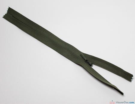 YKK - Concealed Nylon Zip [100 Mid Green] - WeaverDee.com Sewing & Crafts