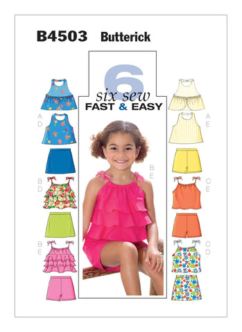 Butterick Pattern B4503 Children's/Girls' Sleeveless Tops, Skort & Shorts