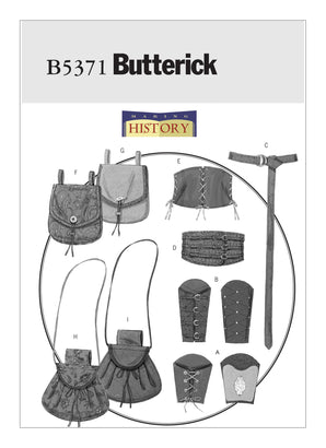 Butterick Pattern B5371 Misses'/Men's Historical Wrist Bracers, Corset, Belt & Pouches