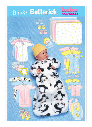 Butterick - B5583 Infants' Bunting, Jumpsuit, Shirt, Diaper Cover, Blanket, Hat, Bib, Mittens and Booties - WeaverDee.com Sewing & Crafts - 1