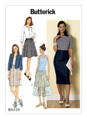 Butterick Pattern B6326 Misses' Raised-Waist or Elastic-Waist Skirts | Easy