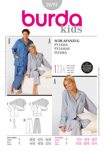 Burda - BD2691 Unisex Pyjamas | Very Easy - WeaverDee.com Sewing & Crafts - 1