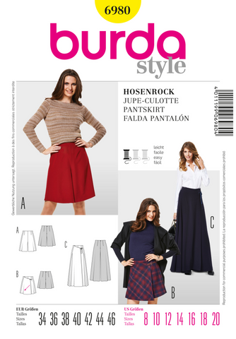 Burda - BD6980 Misses' Pantskirts | Easy - WeaverDee.com Sewing & Crafts - 1