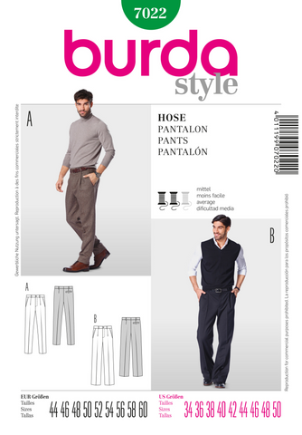 Burda - BD7022 Mens' Trousers - WeaverDee.com Sewing & Crafts - 1