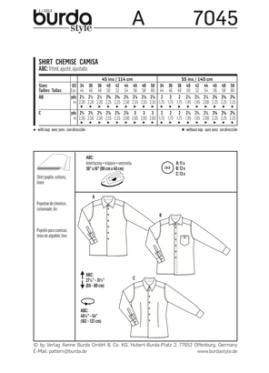 Burda - BD7045 Mens' Shirt - WeaverDee.com Sewing & Crafts - 1