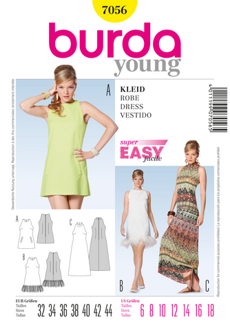 Burda - BD7056 Misses' Dress | Easy - WeaverDee.com Sewing & Crafts - 1