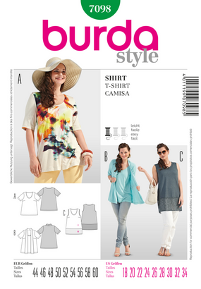 Burda - BD7098 Misses' T-Shirt | Easy - WeaverDee.com Sewing & Crafts - 1