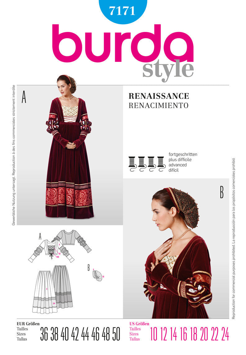 Burda - BD7171 Renaissance Costume - WeaverDee.com Sewing & Crafts - 1