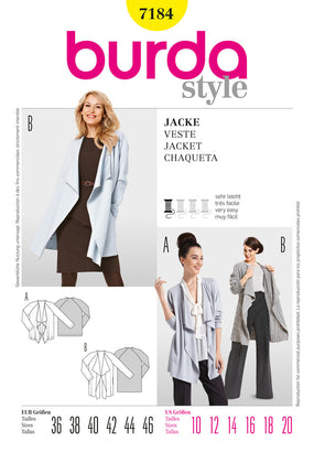 Burda - BD7184 Misses' Jacket | Very Easy - WeaverDee.com Sewing & Crafts - 1