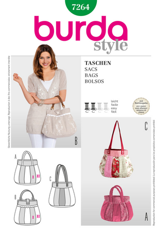 Burda - BD7264 Bags | Easy - WeaverDee.com Sewing & Crafts - 1