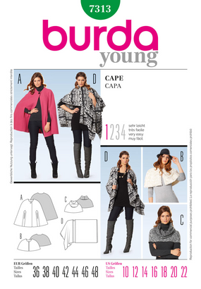 Burda - BD7313 Misses' Cape | Very Easy - WeaverDee.com Sewing & Crafts - 1