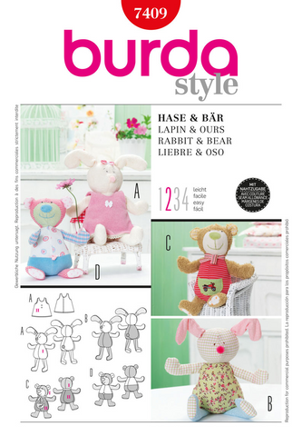 Burda - BD7409 Stuffed Rabbit & Bear | Easy - WeaverDee.com Sewing & Crafts - 1
