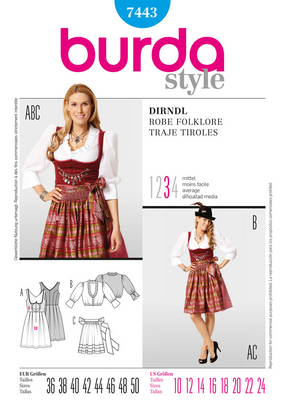 Burda - BD7443 Dirndl Dress - WeaverDee.com Sewing & Crafts - 1
