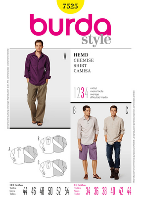 Burda - BD7525 Mens' Shirt - WeaverDee.com Sewing & Crafts - 1