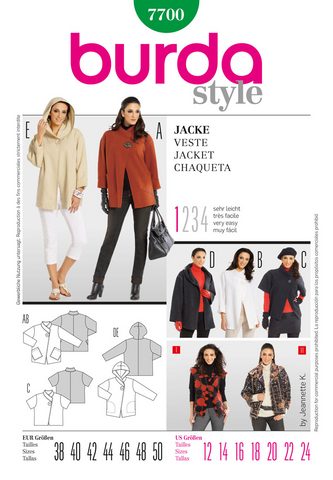 Burda - BD7700 Misses Jacket | Very Easy - WeaverDee.com Sewing & Crafts - 1