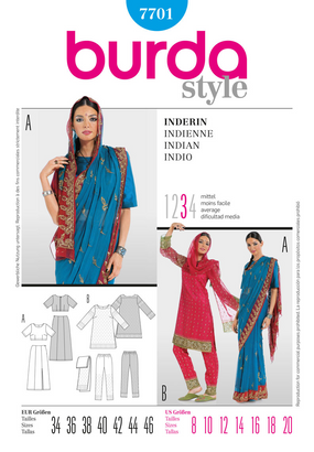 Burda - BD7701 Bollywood Costume - WeaverDee.com Sewing & Crafts - 1