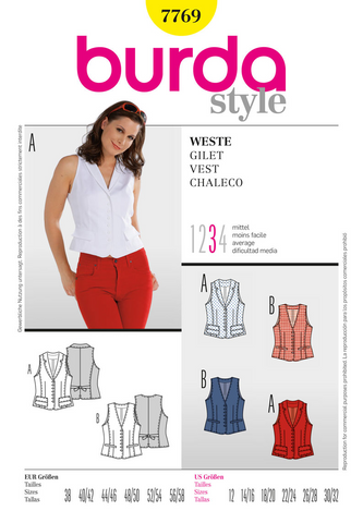 Burda - BD7769 Misses' Vest - WeaverDee.com Sewing & Crafts - 1